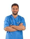 Jeune docteur beau avec la veste bleue Image stock