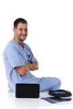 Jeune docteur caucasien réussi d'homme, positif Photo stock
