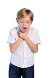 Jeune douleur cervicale de garçon Images stock