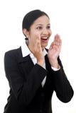 Jeune encourager de femme d'affaires image libre de droits