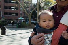 Jeune enfant asiatique dans le transporteur de bébé dehors Photos libres de droits