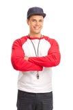Jeune entraîneur de sports masculin Images libres de droits