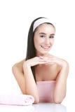 Jeune et en bonne santé femme dans le salon de station thermale d'isolement sur le whiteImage Image stock