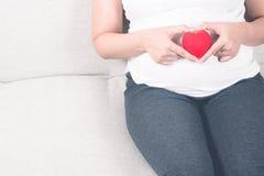 Jeune et heureuse femme enceinte jugeant le coeur rouge d'amour disponible dedans Photographie stock