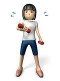 Jeune exercice asiatique de femmes avec une haltère Photos stock