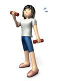 Jeune exercice asiatique de femmes avec une haltère Photo libre de droits
