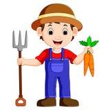 Jeune exploitant agricole de bande dessinée tenant le râteau illustration de vecteur