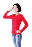 Jeune faire des gestes heureux de femme Image stock