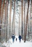Jeune famille ayant l'amusement avec un chien en hiver Photo stock