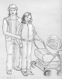 Jeune famille - croquis Photos libres de droits