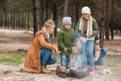 jeune famille faisant le feu de camp images stock