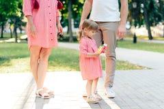 Jeune famille heureuse avec le petit beau bébé avec des yeux bleus marchant en parc d'été au coucher du soleil maman et petit des Image stock