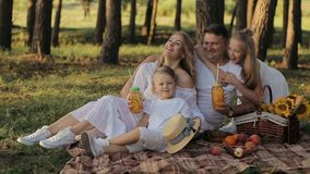 Jeune famille heureuse ayant un pique-nique le parc et en jouant clips vidéos
