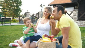 Jeune famille heureuse ayant un pique-nique sur la pelouse banque de vidéos