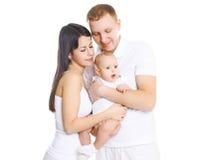 Jeune famille heureuse, portrait des parents avec le bébé mignon Image libre de droits