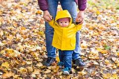 Jeune famille pour une promenade en parc d'automne avec Photo libre de droits