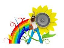 Jeune fan de musique heureux illustration libre de droits
