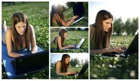 Jeune femelle avec le collage d'ordinateur portatif Photographie stock libre de droits