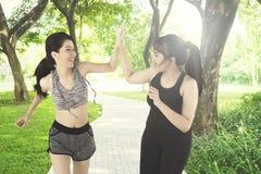 Jeune femelle deux donnant la haute cinq en parc Image libre de droits