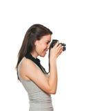 Jeune femelle prenant une photo image libre de droits