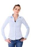 Jeune femelle très attirante dans la chemise bleue Image libre de droits