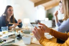 Jeune femme à l'aide de son téléphone portable tout en prenant le déjeuner avec des amis à la maison Image libre de droits