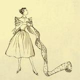 Jeune femme à la mode avec le boulon du tissu Photo libre de droits