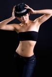Jeune femme élégant avec le chapeau Image libre de droits