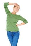 Jeune femme élégante sexy en vert image libre de droits