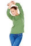 Jeune femme élégante sexy en vert photo stock