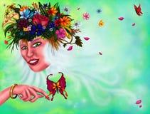 Jeune femme énigmatique avec un groupe de fleurs et de plantes dans sa longue femme magique de cheveux blancs, 2018 photo stock