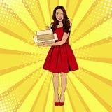 Jeune femme étonnée sexy tenant la boîte vide Dirigez l'illustration dans le rétro style comique d'art de bruit illustration stock