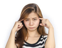Jeune femme asiatique avec le regard sérieux Photographie stock