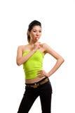 Jeune femme asiatique ayant l'amusement avec la lucette Image libre de droits