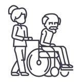 Jeune femme, assistant social, flânant avec un homme plus âgé dans la ligne icône de vecteur de fauteuil roulant, signe, illustra Image stock