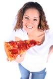 Jeune femme attirant avec la nourriture et la boisson image stock