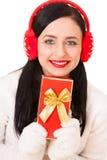 Jeune femme attirant avec le cadre de cadeau Photos stock