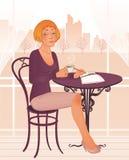 Jeune femme attirant en café de rue illustration stock