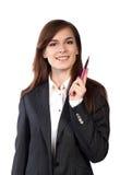 Jeune femme attirante d'affaires avec le stylo Photo libre de droits