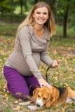 Jeune femme attirante jouant avec son animal familier Photographie stock libre de droits