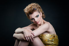 Jeune femme avec de beaux yeux Photographie stock libre de droits