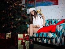 Jeune femme avec des cadeaux de Noël Photo libre de droits