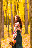 Jeune femme avec des feuilles d'automne à disposition Photos stock