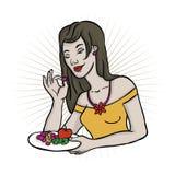 Jeune femme avec des fruits Photos libres de droits