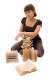 Jeune femme avec des livres Images stock