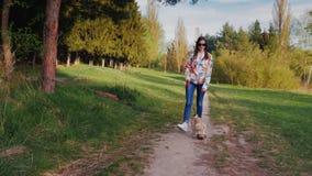 Jeune femme avec des lunettes de soleil marchant avec le chien en parc Va à l'encontre le contexte de la nature pittoresque le lo banque de vidéos