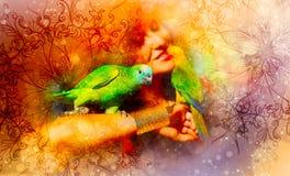 Jeune femme avec des perroquets de couleur et des ornements et fond doucement brouillé d'aquarelle Photo stock