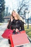 Jeune femme avec des sacs à provisions photo stock