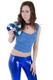 Jeune femme avec du CD Photo stock