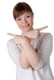 Jeune femme avec du charme d'isolement sur le fond blanc Photo stock